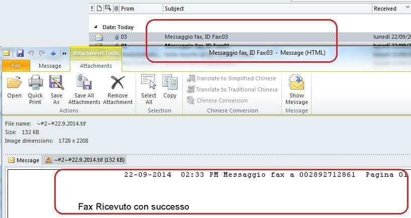 Gestione fax tramite email
